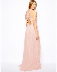 Vestido largo rosado de Mango