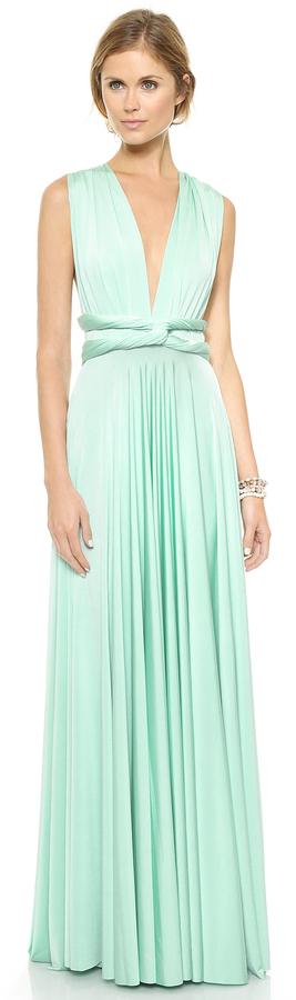 Vestido verde menta largo