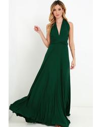 Vestido largo verde oscuro