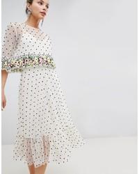 Vestido midi a lunares blanco de ASOS DESIGN