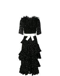 Vestido midi a lunares en negro y blanco de Giambattista Valli
