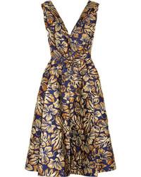 Vestido midi con print de flores azul marino de Prada