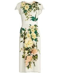 Vestido midi con print de flores blanco