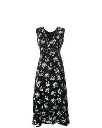 Vestido midi con print de flores negro de Proenza Schouler