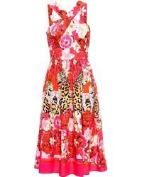 Vestido midi con print de flores rojo