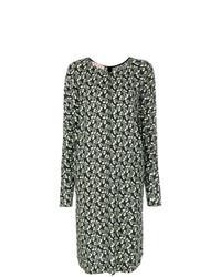 Vestido midi con print de flores verde oliva