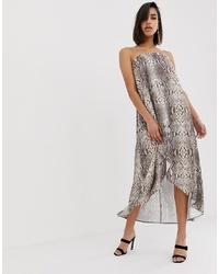 Vestido midi con print de serpiente gris de ASOS DESIGN