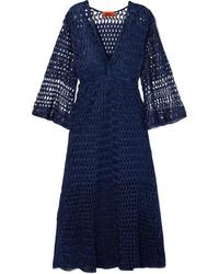 Vestido midi de crochet azul marino