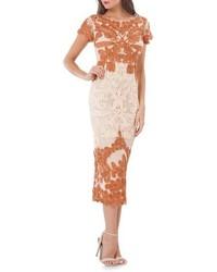 Vestido midi de encaje naranja