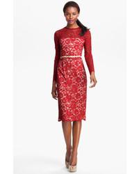 Vestido midi de encaje rojo