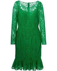 Vestido midi de encaje verde