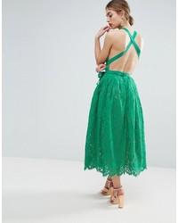Vestido Midi de Encaje Verde de Asos