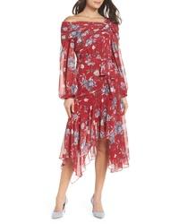 Vestido midi de gasa con print de flores rojo