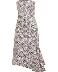 Vestido Midi de Lentejuelas Plateado de Balenciaga