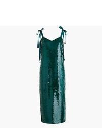 Vestido midi de lentejuelas verde oscuro
