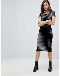 Vestido midi de rayas horizontales en negro y blanco de Pieces
