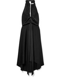 Vestido midi de satén negro de Chloé