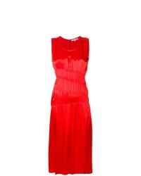 Vestido midi de satén rojo de Helmut Lang