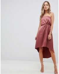 Vestido midi de satén rosado de ASOS DESIGN