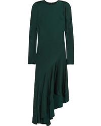 Vestido midi de satén verde oscuro