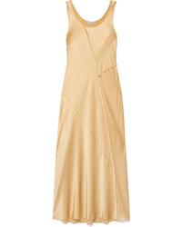 Vestido midi de seda dorado de Vince