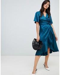 Vestido midi de seda en verde azulado de Y.a.s
