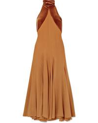 Vestido midi de seda marrón claro de Haider Ackermann