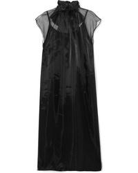 Vestido midi de seda negro de Prada