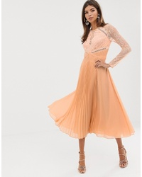 Vestido midi de seda plisado naranja de ASOS DESIGN