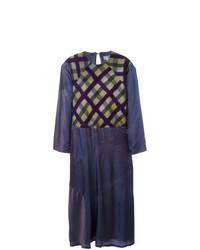 Vestido midi de tartán morado oscuro de Yohji Yamamoto Vintage