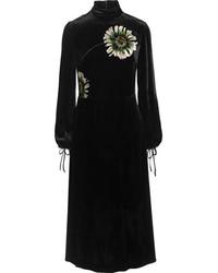 Vestido midi de terciopelo estampado negro de Miu Miu
