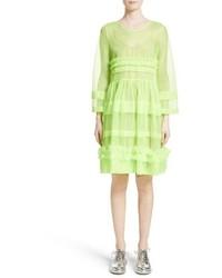 Vestido midi de tul en amarillo verdoso