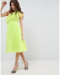Vestido midi de tul en amarillo verdoso de Asos