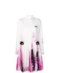 Vestido midi efecto teñido anudado blanco de Prada