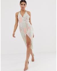 Vestido midi estampado rosado de ASOS DESIGN