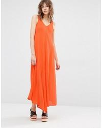 Vestido midi naranja de Mango