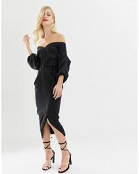 Vestido midi negro de ASOS DESIGN