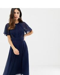 Vestido midi plisado azul marino de ASOS DESIGN