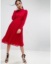 Vestido Midi Plisado Rojo de Asos