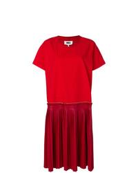 Vestido Midi Plisado Rojo de MM6 MAISON MARGIELA