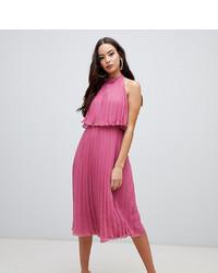 Vestido midi plisado rosa de ASOS DESIGN