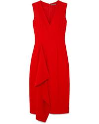 Vestido midi rojo de Alexander McQueen