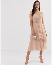 Vestido midi rosado de ASOS DESIGN