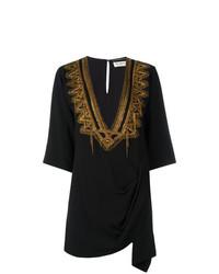 Vestido playero bordado negro de Saint Laurent