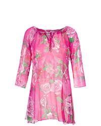 Vestido playero con print de flores rosado de Amir Slama