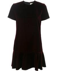 Vestido recto burdeos de Saint Laurent
