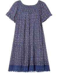 Vestido recto con print de flores azul de Tory Burch