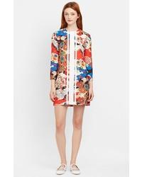 Vestido recto con print de flores en multicolor