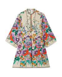 Vestido recto con print de flores en multicolor de Gucci