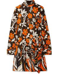 Vestido recto con print de flores en multicolor de Prada